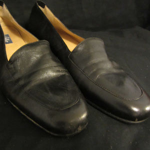 Black Leather Selby Flat/Low Heeled Dress Shoes
